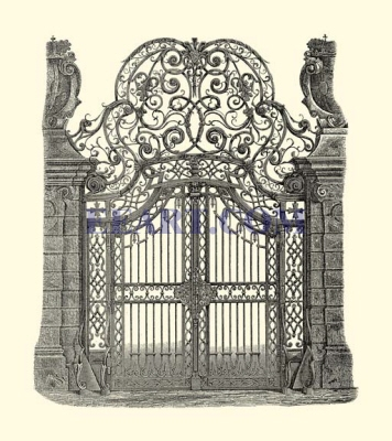 Oversized Wrought Iron Gate (B&W)
