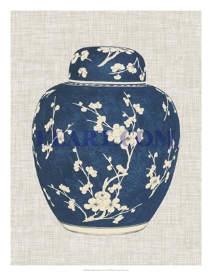 Blue & White Ginger Jar on Linen I