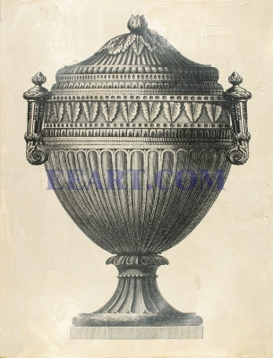 Oversize Crackled Empire Urn II (B&W)
