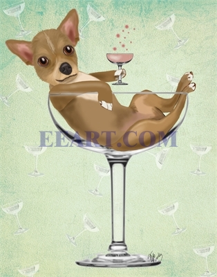 Chihuahua in Cocktail Glass