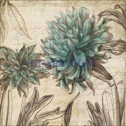 Blue Botanical I  Print on Demand